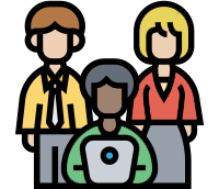 icon of people in front of laptop