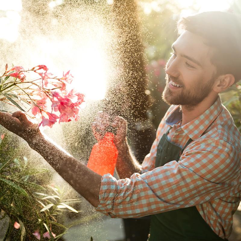 man watering